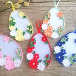 kanzashi húsvéti tojás, kanzashi tojás, húsvéti tojás, húsvéti dekoráció, húsvétra ajándék